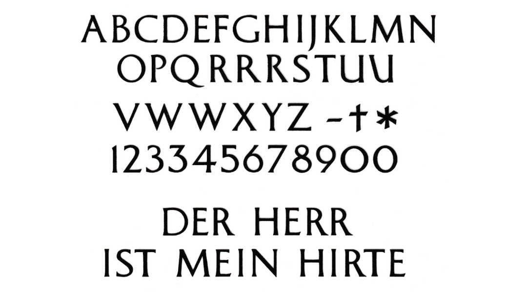 Schrift für Grabstein: Schriftart Antique