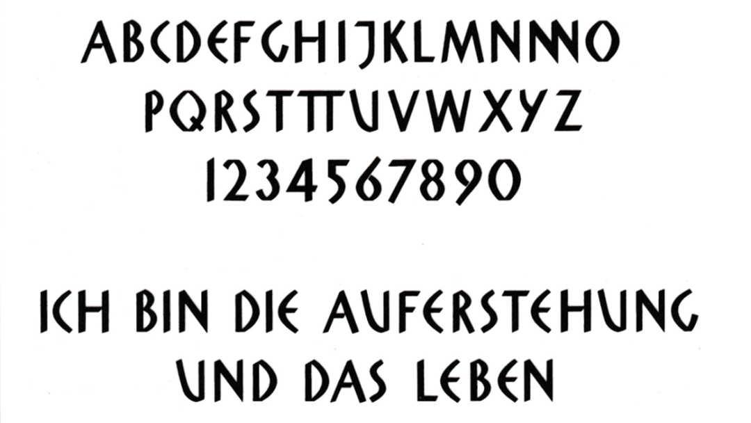Schrift für Grabstein: Schriftart Moderna