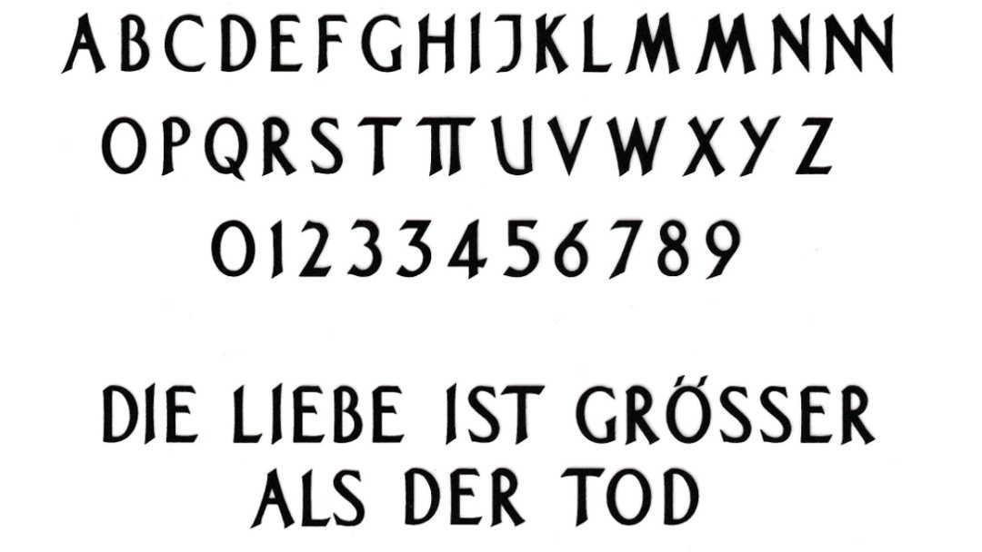 Schrift für Grabstein: Schriftart Pinsel-Antique